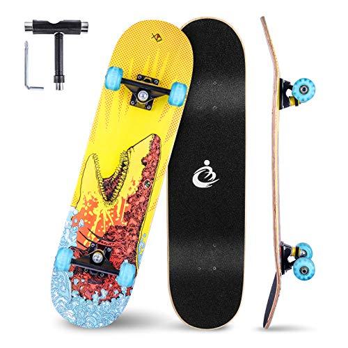 Vikaster Skateboard Komplettboard 79x20cm Holzboard,8-Lagiger Schichten Haltbarer Ahorn für Anfänger...
