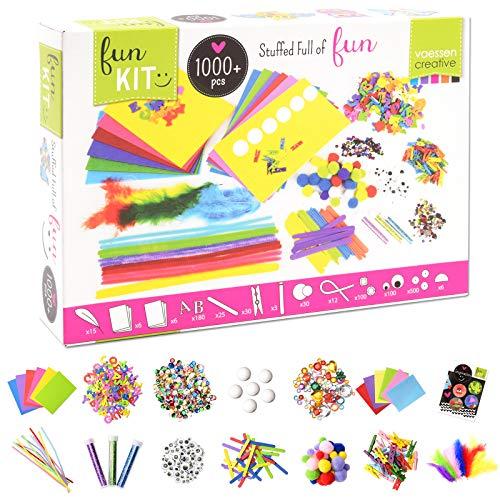 Vaessen Creative Bastelset für Kinder mit über 1000 Bastelmaterialien wie Filz, Moosgummi, Federn,...