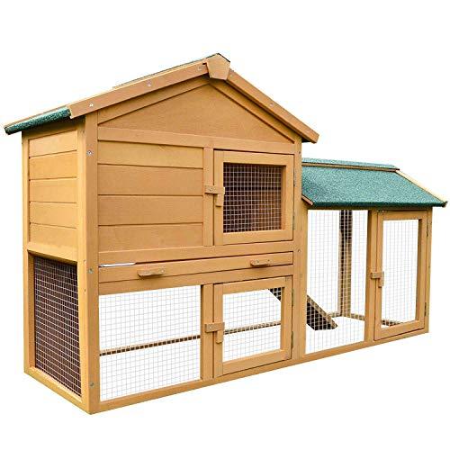 zooprinz Kaninchen-Villa Hasenstall Haupthaus mit Kuschelplatz für Kleintiere unten viel Auslauf