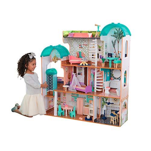 KidKraft 65986 Camila Puppenhaus aus Holz mit Möbeln Zubehör, Spielset mit drei Spielebenen für 30 cm...