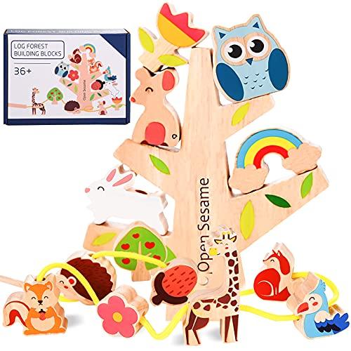 Herefun Holz Spielzeug, 2 in 1 Montessori Holzspielzeug, Perlen Fädelspiel Holzperlen zum Auffädeln,...