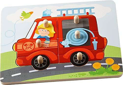 HABA 302536 - Greifpuzzle Feuerwehr, 6-teiliges Holzpuzzle mit Feuerwehr-Motiv und großen Holzknöpfen...