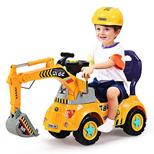 GOPLUS Schaufelbagger Spielzeug für Kleinkinder, Sitzbagger Sandspielzeug mit LED-Licht mit Musik,...