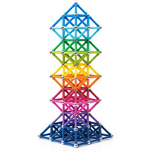BANBBY 145 Stück Magnetische Bausteine Set Spielzeug MagnetSpiel für Kinder Upgraded 33mm Stäbe (10...