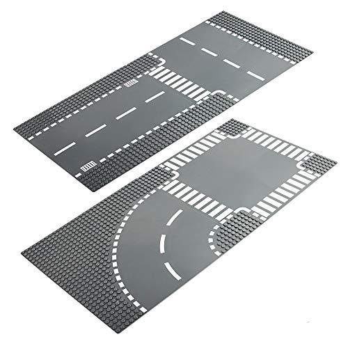 LVHERO 4 Kompatibel mit Straßenplatten für Lego City, Gerade und T-Kreuzung, Kurve und Kreuzung, bunt