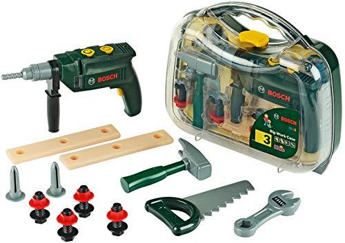 Theo Klein 8416 Bosch Werkzeugkoffer, groß I 16-teiliges Werkzeug-Set I Inkl. batteriebetriebenem Bohrer...