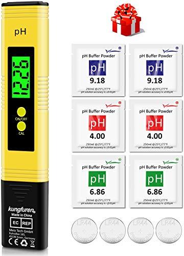 kungfuren PH Messgerät, Digital PH Wert Messgerät mit LCD Anzeige, Wasserqualität Tester für...