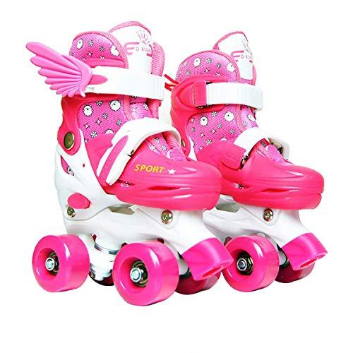 Sumeber Inline Skates Kinder mit Verstellbarer Länge Kid Boys Girls Rollschuhe Outdoor/Indoor (Pink-Quad...
