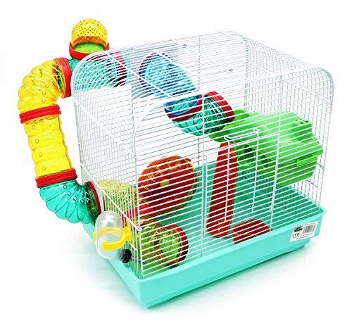 BPS BPS-1176 Käfig für Hamster, Größe XL, mit Futterwanne, Rad und Tunnel, besondere Farbe,...