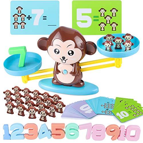 MEckily Montessori Mathe Waage Spielzeug, Affen Balance Spielzeug, Zählen und Rechnen Lernspielzeug mit...