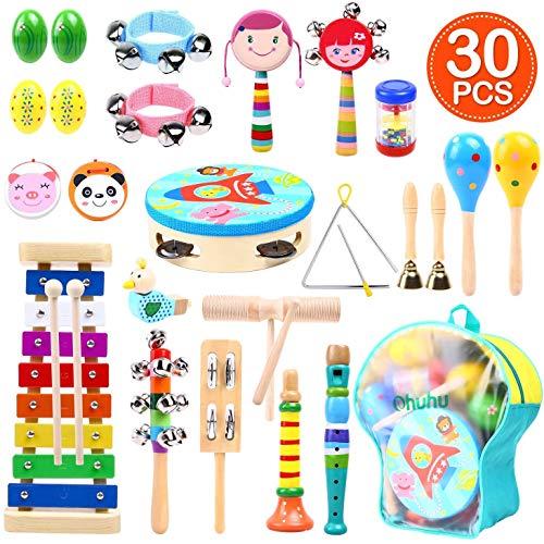 Ohuhu 30 Stück Musikinstrumente Musical Instruments Set, Spielzeug von Holz Percussion Schlagzeug...