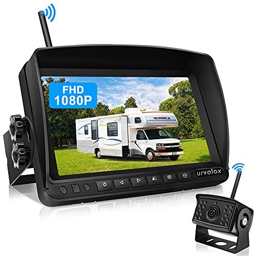 URVOLAX Rückfahrkamera Kabellos,7 inch Monitor und Parkkamera IP69K wasserdichte Auto Rückfahrkamera...