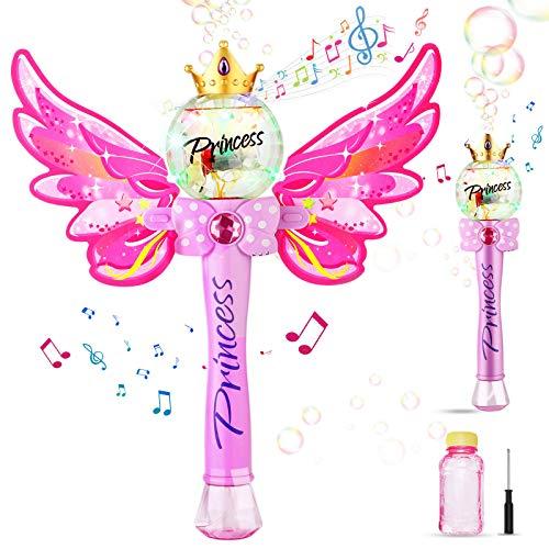 Ucradle Bubble Machine, Zauberstab Seifenblasenmaschine mit Musik & Licht für Mädchen Kinder, Magic...
