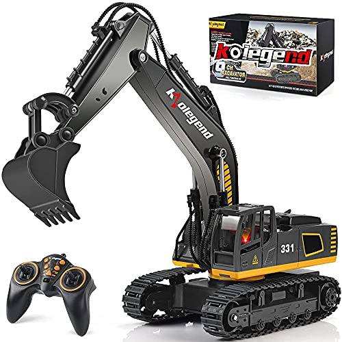 kolegend Ferngesteuerter Bagger Spielzeug LKW, 2,4 GHz 9 Kanal 1:18 RC Bagger Spielzeug RC Engineering...