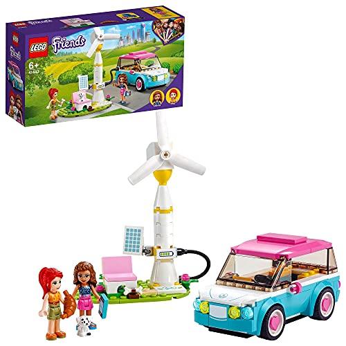 LEGO 41443 Friends Olivias Elektroauto Set, Spielzeug ab 6 Jahren mit Mini Puppen Olivia & Mia und...