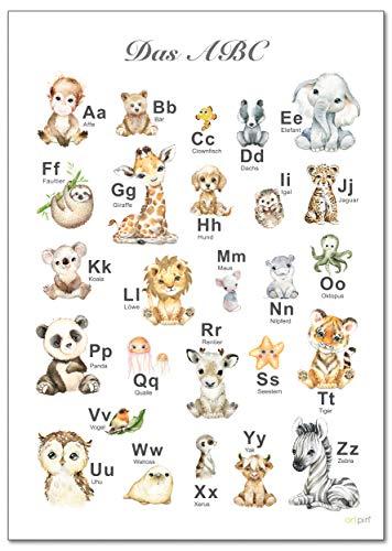 artpin® ABC Poster Kinderzimmer Alphabet Tierposter - Lernposter Schulanfang 1.Klasse DIN A3...