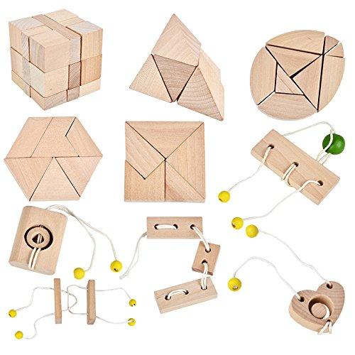 B&Julian ® 3D IQ Holzpuzzle10 Mini Knobelspiele Holz Puzzle Set Geduldspiel Rätselspiel...