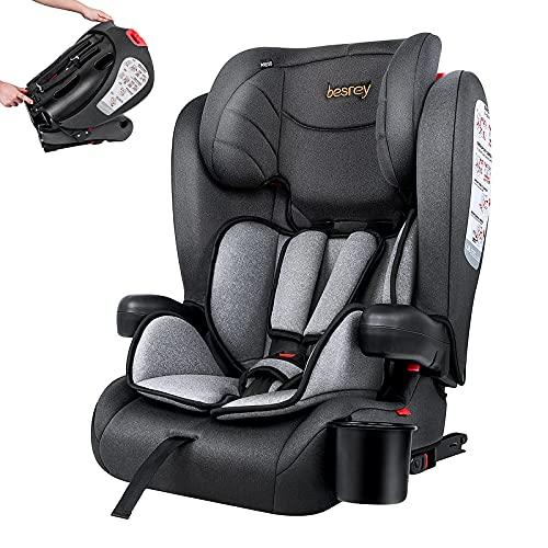 Besrey Kindersitz Kinderautositz mit Isofix - Kinder Autositz Gruppe 1/2/3 - Reise Tragbar und Faltbarer...