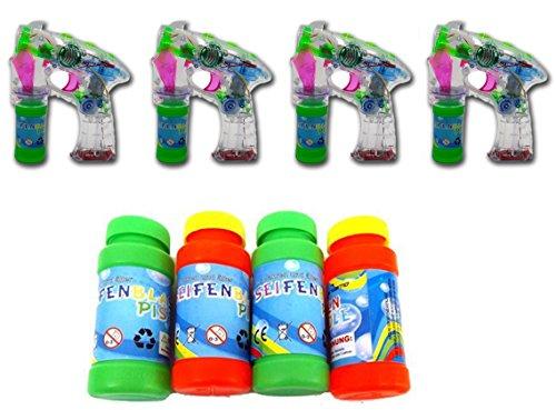 Brigamo 4 x Seifenblasenpistole mit Seifenblasen Nachfüllflasche, inkl. LED Licht & OHNE nervigen Sound...