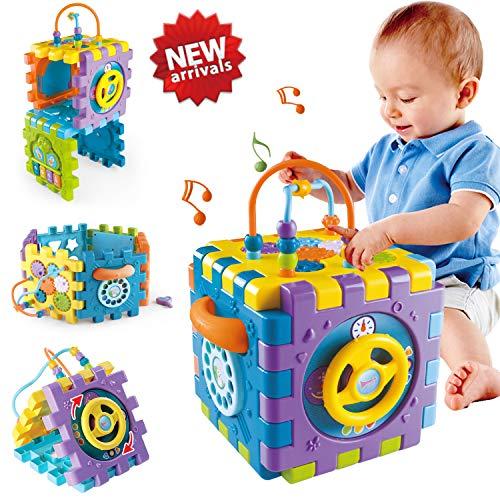 ACTRINIC Babyspielzeug 6-18 Monate Baby-Aktivität Würfelspielzeug, 6 in 1 Mehrzweck Spielzentrum mit...