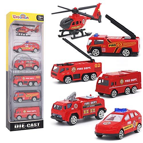 Dreamon Spielzeugautos Feuerwehrauto Fahrzeuge Feuerwehrmann Spielzeug Set Mini Cars für Kinder ab 3...