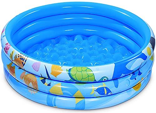 iBaseToy 120 cm x 28 cm aufblasbarer Kinderpool, 3 Ringe Kreise aufblasbarer Pool für Sommerwasserparty,...