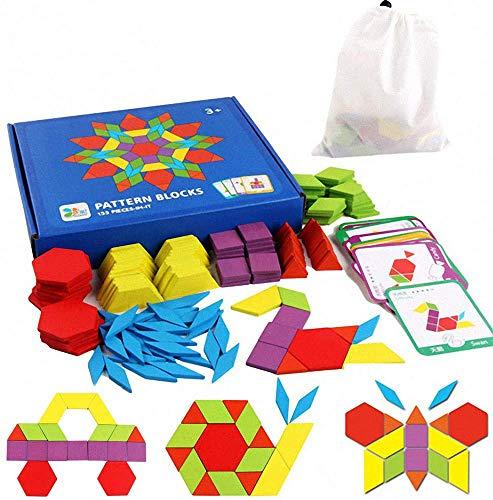 Tangram Kinder Geometrische Formen HolzPuzzles - Montessori Spielzeug Puzzle mit 155 geometrischen Formen...