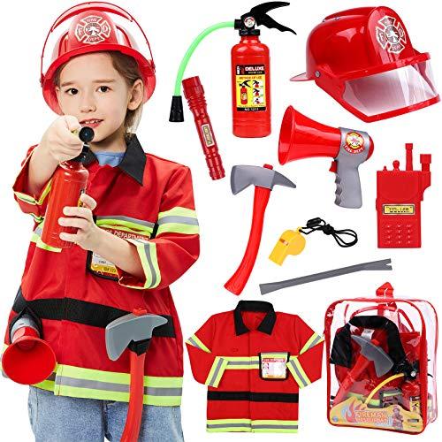 Tacobear Feuerwehrmann Kostüm Kinder Feuerwehr Rollenspiel Set mit Feuerlöscher Feuerwehrhelm...