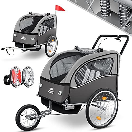 KIDIZ® 3in1 Fahrradanhänger Jogger Kinderanhänger Joggerfunktion Kinderfahrradanhänger für 1 bis 2...