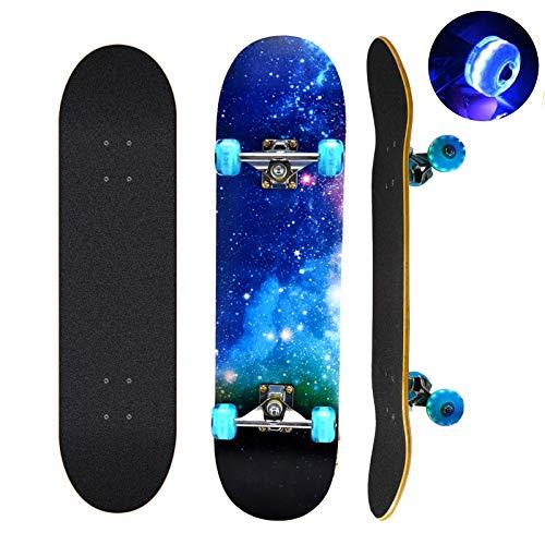 Skateboard, 78,7 x 20,3 cm komplettes Skateboard, 9 Schichten kanadisches Ahornholz Deck Skateboard mit...