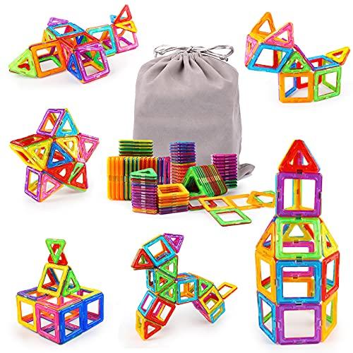 KIDCHEER Magnetische Bausteine Kinder 64 Teile Magnetic Bauklötze 3D Bausteine Lernspielzeug Magnet...