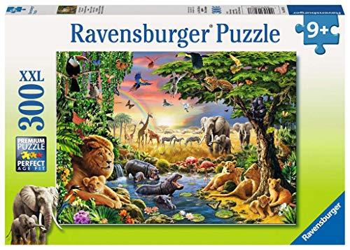 Ravensburger Kinderpuzzle - 13073 Abendsonne am Wasserloch - Tier-Puzzle für Kinder ab 9 Jahren, mit 300...