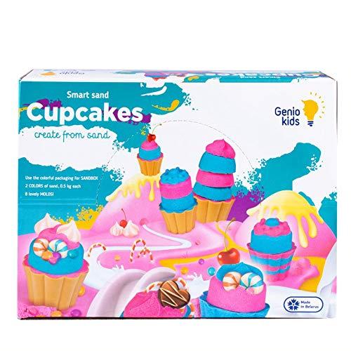 GenioKids Kinetischer Sand 1kg Set Cupcakes - Pink und Blau Sandknete Magischer Sand, 8 Zubehör -...