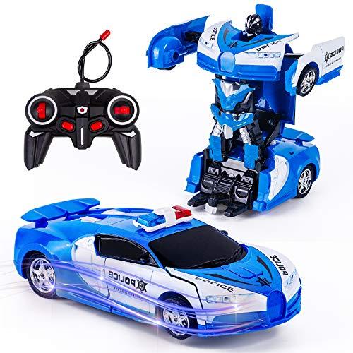 Vubkkty Transformator Ferngesteuertes Auto Spielzeug für Jungen, 2 in 1 rc Auto Kinder Roboter Spielzeug...