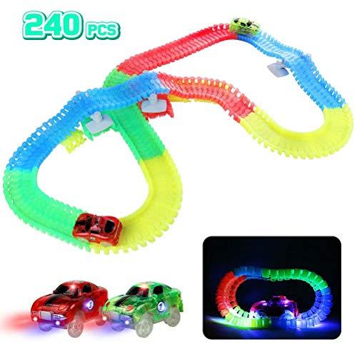 Fajiabao Leuchtende Autorennbahn Rennbahn Kinder Magische 240 Stück Glow Track Twister mit 2 Leucht...