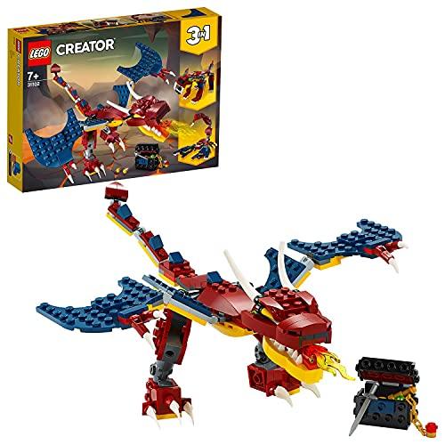 Lego 31102 Creator 3-in-1 Feuerdrache, Feuerdrache - Säbelzahntiger - Skorpion Bauset, Spielzeug mit...