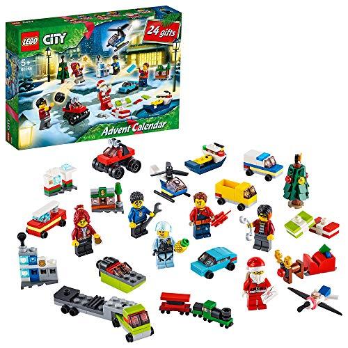 LEGO 60268 City Adventskalender 2020 Weihnachten Mini Bauset mit Kleinstfahrzeugen, Santa Schlitten und...