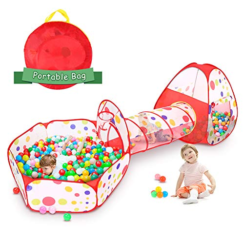 Spielzelt mit Tunnel Kinder Krabbeltunnel Pop up Zelt Kinder, faltbar Kinder bällebad, spieltunnel Zelt...