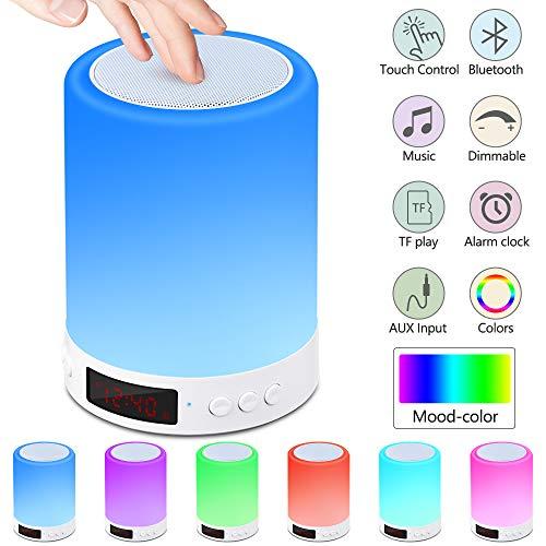 Nachttischlampe mit Bluetooth Lautsprecher,Berührungssensor Nachtlicht Nachttischlampe mit Wecker,...