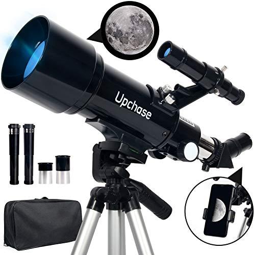 Upchase Astronomisches Teleskop, 400/70mm Refraktor Teleskop Schwarz, Einfach zu Montieren und zu...
