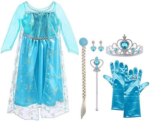 Vicloon ELSA Prinzessin Kostüm Kinder Deluxe Fancy Blaues Kleid,Accessoires und Schuhe für Mädchen,...