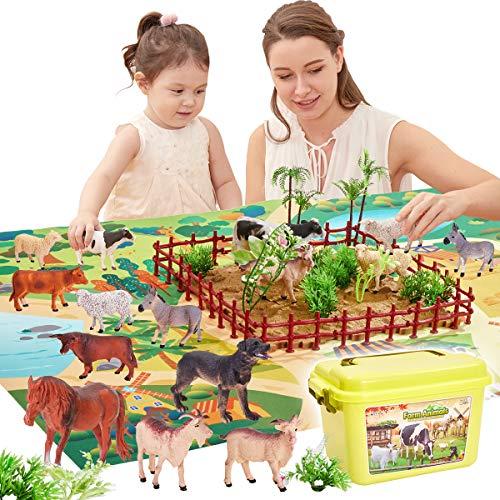 Buyger 58 Stück Kinder Tiere Bauernhof Spielzeug mit Spielmatte und Tierfiguren Set, Tierespielzeug...