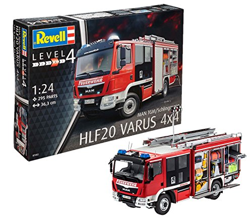 Revell Modellbausatz LKW 1:24 - Feuerwehr MAN TGM / Schlingmann HLF 20 VARUS 4x4 im Maßstab 1:24, Level...