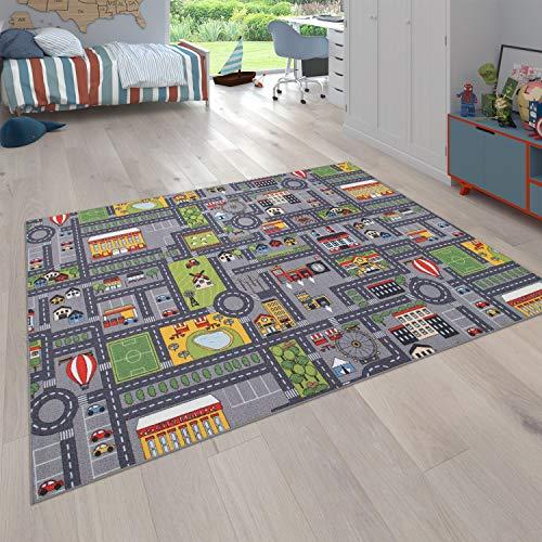 Paco Home Spielteppich Kinderteppich Kinderzimmer Straßenteppich Mit Auto Motiv, In Grau, Grösse:80x150...