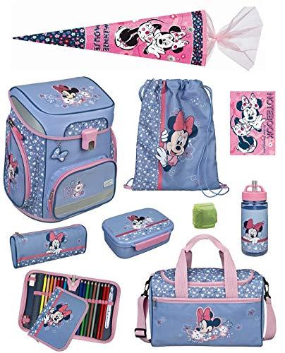 Mädchen Schulranzen-Set 10 TLG.Scooli Easy Fit Ranzen 1. Klasse Disney Minnie Mouse MITW8255...