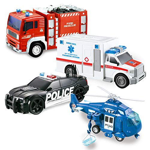 JOYIN 4er Pack Reibungsgetriebenes City Hero Spielzeug mit Feuerwehrauto, Krankenwagen, Polizeiauto und...