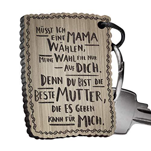 schenkYOU® Premium Schlüsselanhänger aus Nussbaumholz vorgraviert - personalisierte Geschenkidee -...