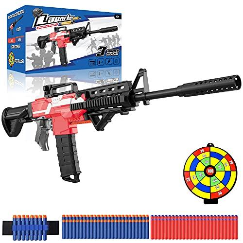 Spielzeug Pistole elektrisch für Nerf Gun Pfeile, motorisierter Blaster groß mit Magazin, 100 Darts,...