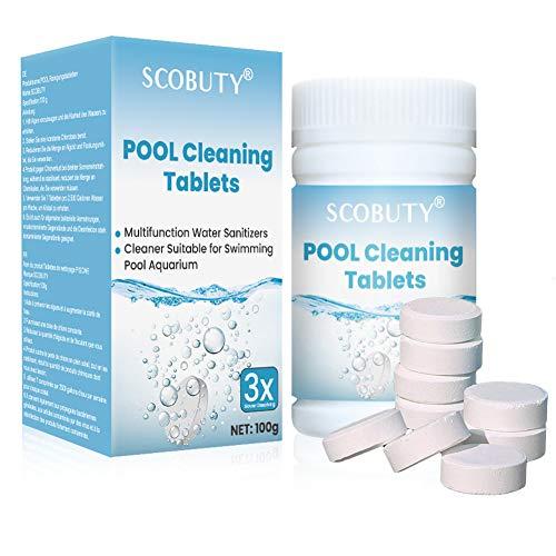 SCOBUTY Chlortabletten für Pool,Chlor Multitabs,Chlortabletten,Multifunktionale Chlortabletten für...