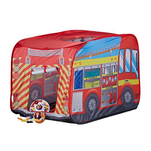 Relaxdays 10022459 Spielzelt Feuerwehr, Pop up Kinderzelt mit Automotiv, für Drinnen und Draußen,...